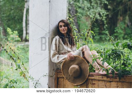 The Girl On The Porch Of The Old House