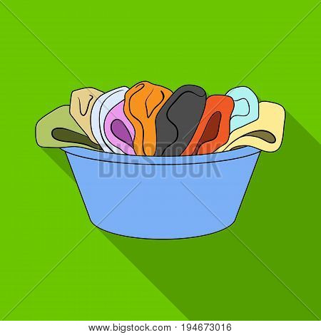 A bowl with dirty laundry. Dry cleanin single icon in flat style vector symbol stock illustration .