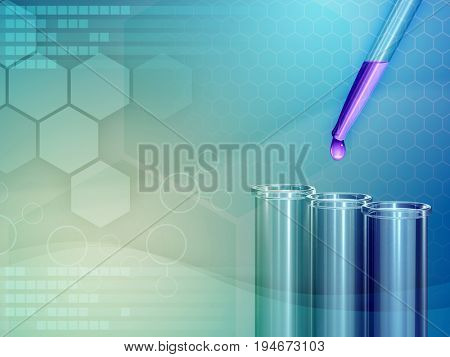 Medical laboratory background with some flasks and a pipette. 3D illustration.