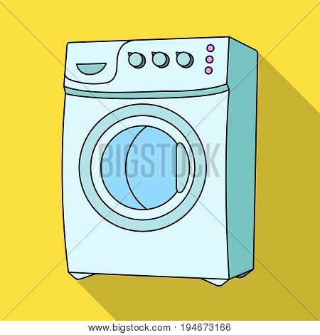 Household washing machine. Dry cleaning single icon in flat style vector symbol stock illustration .