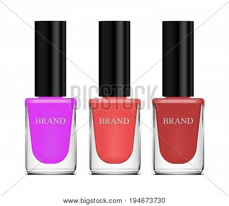 Set Of Cosmetics, Nail Polish, Beige, Brown And Purple, Glass Bottle On A White Background. 3D Vecto