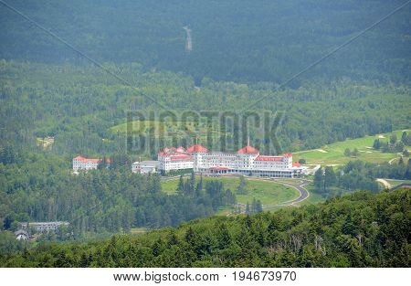 Mount Washington Hotel in summer, from summit of Mount Rosebrook, Bretton Woods, New Hampshire, USA. Now Mount Washington Hotel is registered as a National Historic Landmark.
