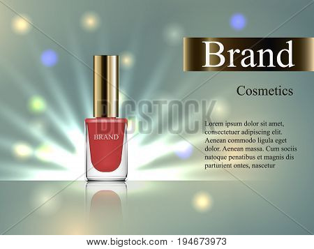 Design Of Cosmetics, Beige Nail Polish With An Angled Cap On A Gentle Background With Bright Rays. A