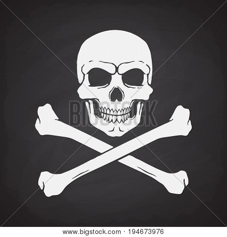 Silhouette of skull Jolly Roger with crossbones at the bottom on blackboard background. Vector illustration. Danger and warning sign. Symbol on the flag of pirates