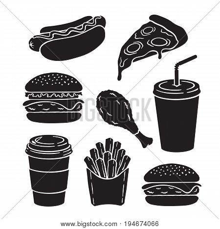 Icons silhouettes of hamburger, cheeseburger, hot dog, slice of pizza, deep-fried chicken leg, french fries, paper cup with soda and coffee. Vector illustration set. Fast food collection for menus