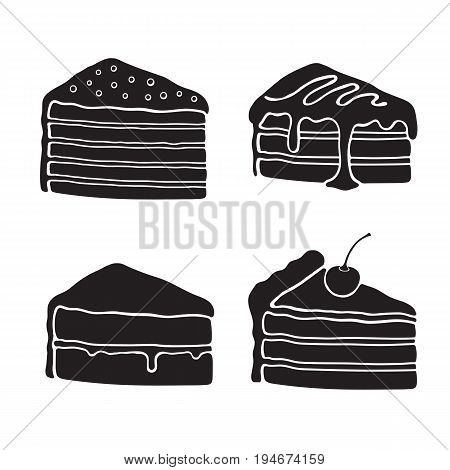Icons silhouettes of cakes with cream, glaze, fondant, confiture and cherry. Vector illustration set. Desserts and sweets. Design elements for menus, signboards, showcases