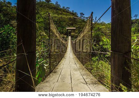 Long Wooden Bridge Into The Wild In Pirenopolis