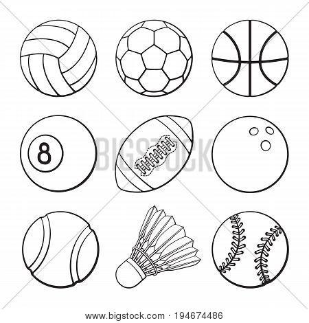 Vector illustration. Hand drawn doodles of football, soccer, basketball, volleyball, baseball, tennis, badminton, bowling and billiards balls. Set of sports balls. Cartoon sketch