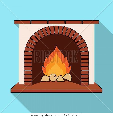 Fire, warmth and comfort. Fireplace single icon in flat style vector symbol stock illustration .