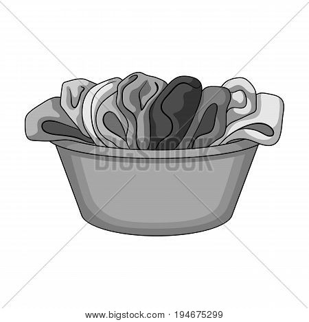 A bowl with dirty laundry. Dry cleanin single icon in outline style vector symbol stock illustration .