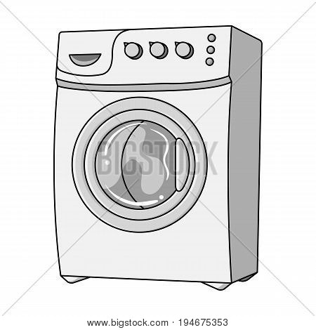 Household washing machine. Dry cleaning single icon in outline style vector symbol stock illustration .