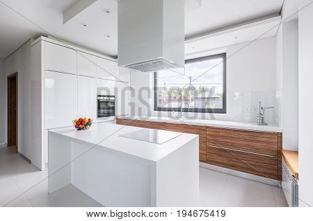 White Kitchen With Island