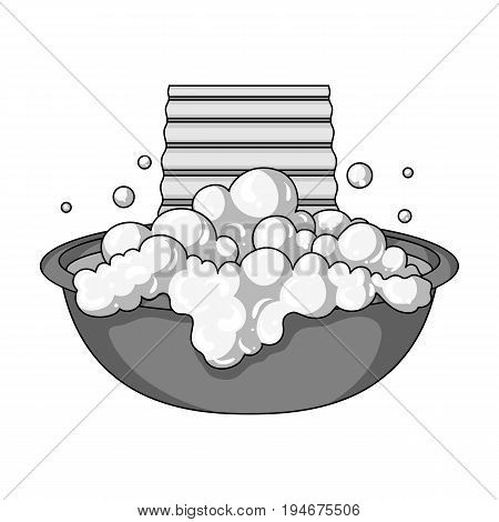 Bowl for washing. Dry cleaning single icon in outline style vector symbol stock illustration .