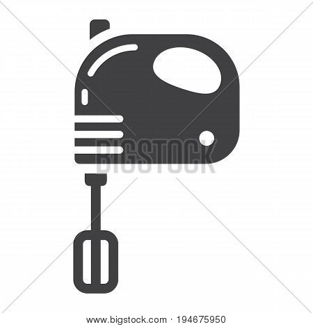 Hand mixer solid icon, household and appliance, vector graphics, a glyph pattern on a white background, eps 10.