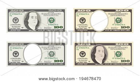 100 Dollars Banknote. Bill one hundred dollars. Suitable for discount cards, leaflet, coupon, flyer, vouchers. USA banking currency. Vector, flat style.  American president Benjamin Franklin.