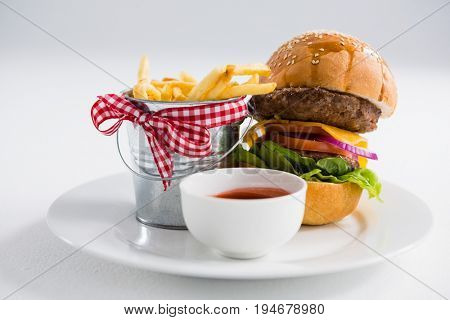 Hamburger by french fries in container with tomato sauce on plate against white backgroun