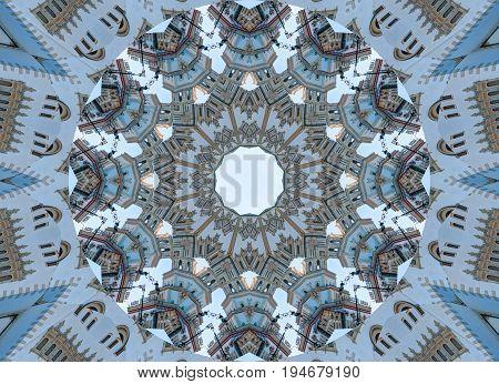 Blue gray kaleidoscope pattern abstract background. Circle pattern. Abstract fractal kaleidoscope background. Abstract fractal pattern geometrical symmetrical ornament. Kaleidoscope blue grey pattern