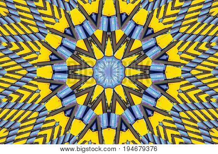 Yellow blue kaleidoscope pattern architecture abstract background. Abstract fractal kaleidoscope background Abstract fractal pattern geometrical symmetrical ornament. Architecture Kaleidoscope pattern