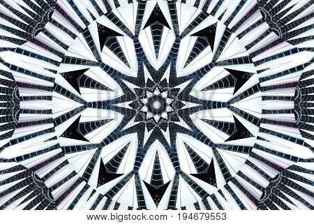 Kaleidoscope pattern abstract background. Round pattern. Architectural abstract fractal kaleidoscope background. Abstract fractal pattern geometrical symmetrical ornament. Metal flower pattern imagearchitecture buildings. Sail white canvas made of steel t