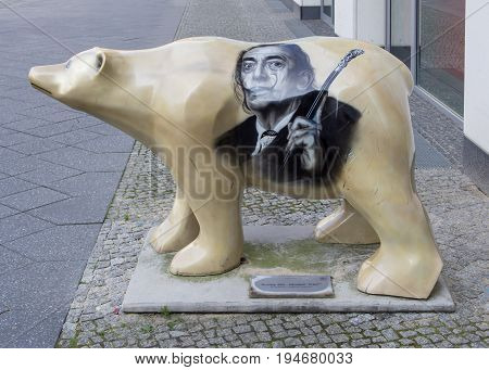 BERLIN GERMANY - JULY 9 2017: Buddy Bear At The Entrance of The Dali Exhibition At Potsdamer Platz In Berlin