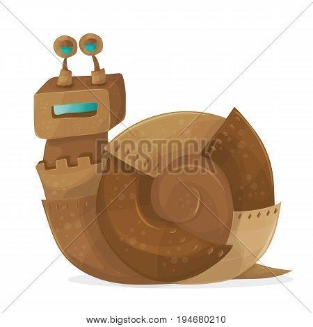 Funny Snail robot cartoon Vector Illustration art
