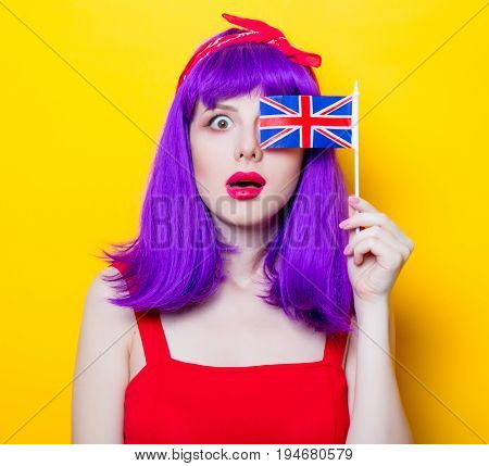 Girl With Purple Color Hair And Great Britain Flag