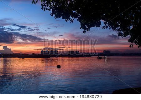 An  evening view from Princep ghat , Kolkata, West bengal, India, after a heavy rainfall with a moody sky.