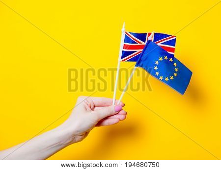 Female Hand Holding Eu And Great Britain Flags