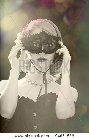 Fashion Women With Mask. Photo With Backlight.