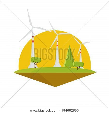 Wind energy power. Turbine electricity flat design isolated