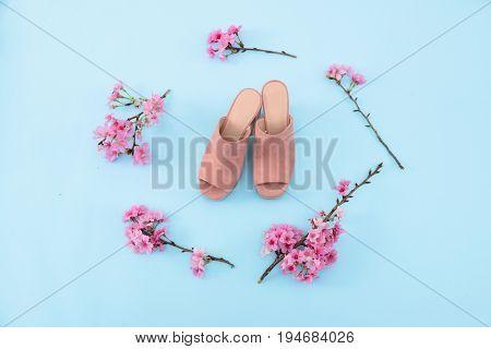 Set of cherry blossom sakura and shoes blue background