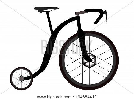 illustration of funny penny-farthing mixing modern technology with old concepts.