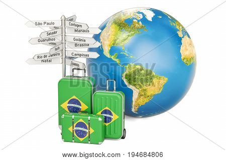 Brazil travel concept. Suitcases with Brazilian flag signpost and Earth globe. 3D rendering
