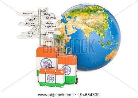 India travel concept. Suitcases with Indian flag signpost and Earth globe. 3D rendering