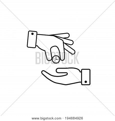 Hand giving the clock outline icon. Vector isolated time economy concept.