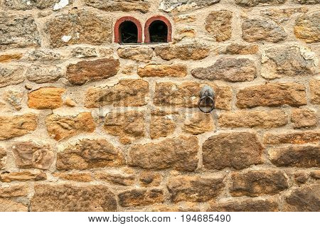 Old Stone Stable Wall with Tether Ring, background