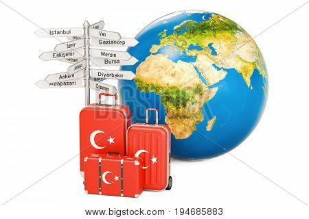 Turkey travel concept. Suitcases with Turkish flag signpost and Earth globe. 3D rendering