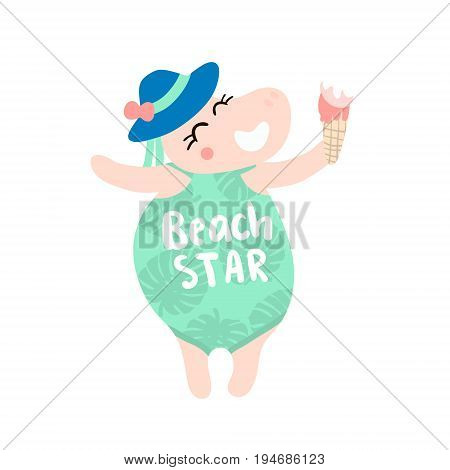 Cute hippo girl hand drawn vector illustration. Cartoon hippo with ice cream and swimsuit character isolated. Can be used for baby fashion print design kids wear poster greeting and invitation card