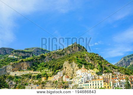 beautiful view of Amalfi town on Amalfi coast from the sea with mountains Campania Italy