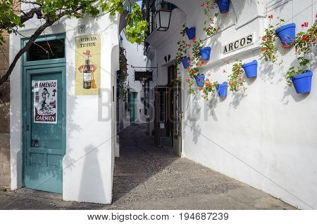 BARCELONA, SPAIN - MAY 2017: Old narrow street with white walls decorated with blue flower pots at traditional Spanish Village (Poble Espanyol)