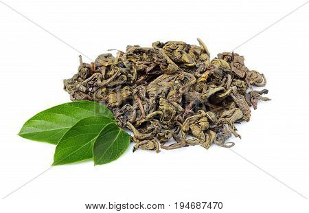 Green tea with fresh leaves isolated on white background.