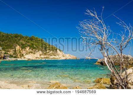 Agios Nikitas beach on Lefkas island in Greece