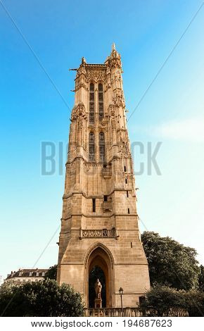 Saint-Jacques Tower is a monument located in Paris, France. This 52-meters Flamboyant Gothic tower is all that remains of the former 16th-century Church