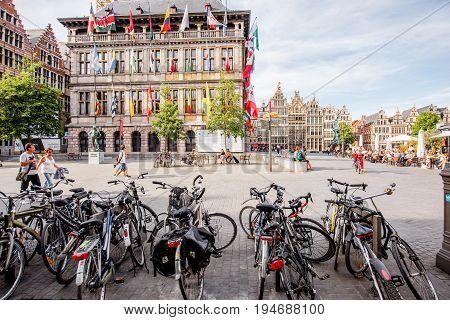 ANTWERPEN, BELGIUM - June 02, 2017: Street view on the crowded Grote Markt square with bicycle parking in Antwerpen city, Belgium