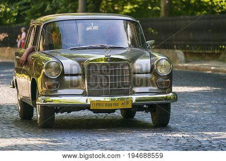 Lviv Ukraine - June 4 2017:Old retro car Mercedes Benz W110 taking participation in race Leopolis grand prix 2017 Ukraine.