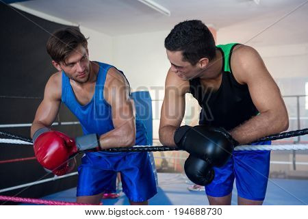 Young male boxers leaning on boxing ring rope