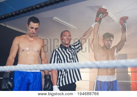 Referee holding hands of winning male boxer by athlete standing in boxing ring