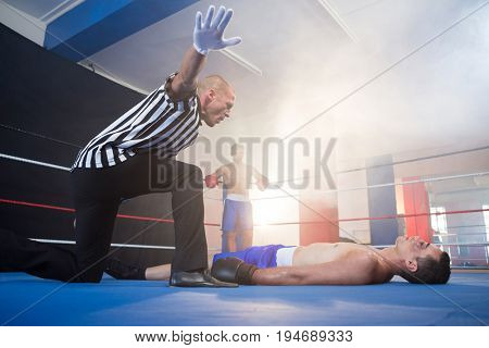 Referee gesturing by unconscious male boxer lying in boxing ring at fitness studio