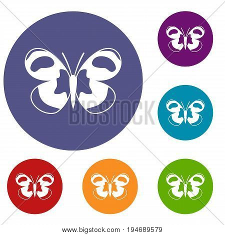 Spotted butterfly icons set in flat circle reb, blue and green color for web