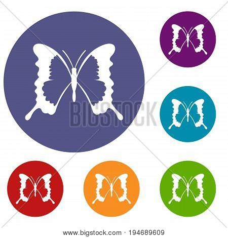 Swallowtail butterfly icons set in flat circle reb, blue and green color for web